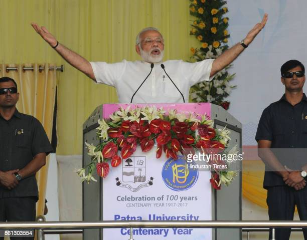 Prime Minister Narendra Modi inaugurates the centenary celebrations of the Patna University on October 14 2017 in Patna India