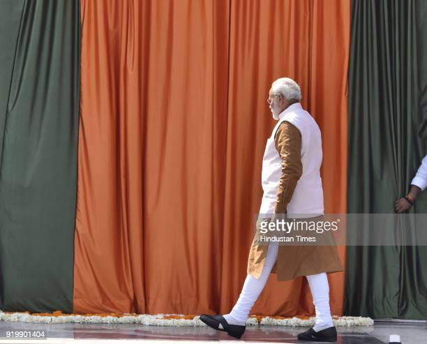 Prime Minister Narendra Modi inaugurates the new BJP headquarters at 6A Deen Dayal Upadhyay Marg on February 18 2018 in New Delhi India PM Modi...