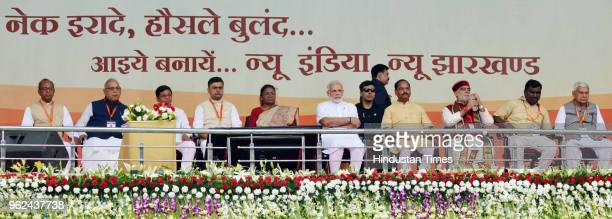 Prime Minister Narendra Modi Jharkhand Govenor Draupadi Murmu and chief minister Raghubar Das and others during a function at Baliapur on May 25 2018...