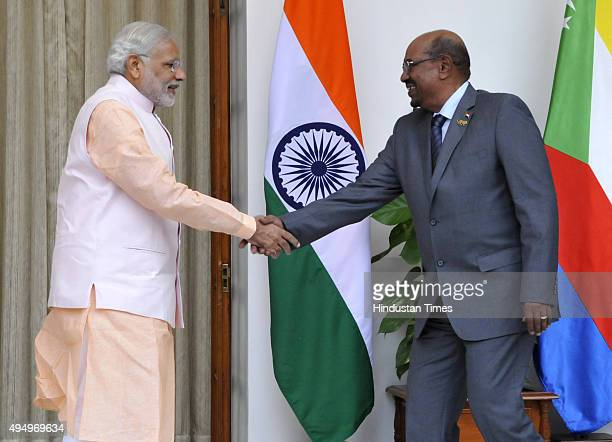 Prime Minister Narendra Modi meeting with the President of Sudan Omar Hassan Ahmad AlBashir at Hyderabad House on October 30 2015 in New Delhi India...