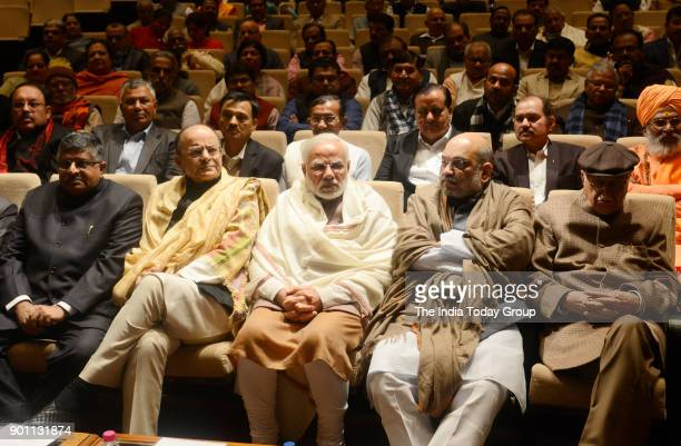 Prime Minister Narendra Modi Parliamentary Affairs Minister Ananth Kumar Jitendra Singh and Vijay Goel during the BJP Parliamentary Party meeting...