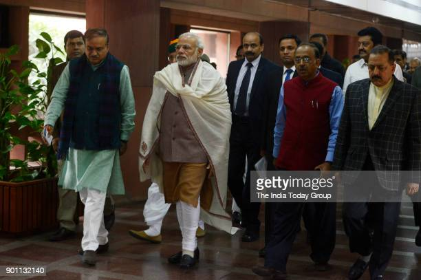 Prime Minister Narendra Modi Parliamentary Affairs Minister Ananth Kumar Jitendra Singh and Vijay Goel arrives to attend the BJP Parliamentary Party...