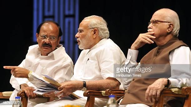Prime Minister Narendra Modi Parliamentary Affairs Minister Venkaiah Naidu and Senior BJP Leader Lal Krishna Advani during the BJP Parliamentary...