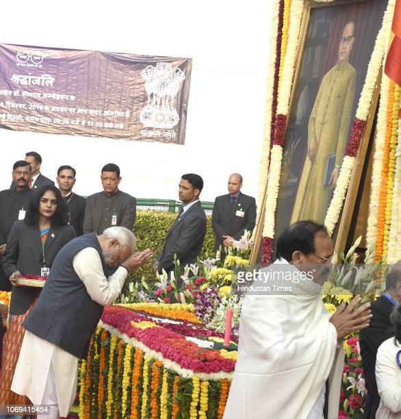 Prime Minister Narendra Modi pays tribute to BR Ambedkar on his 62nd death anniversary at Parliament House Lawns on December 6 2018 in New Delhi...