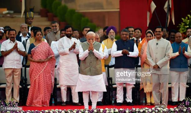 Prime Minister Narendra Modi seen before taking oath during the swearingin ceremony at the forecourt of Rashtrapati Bhawan on May 30 2019 in New...