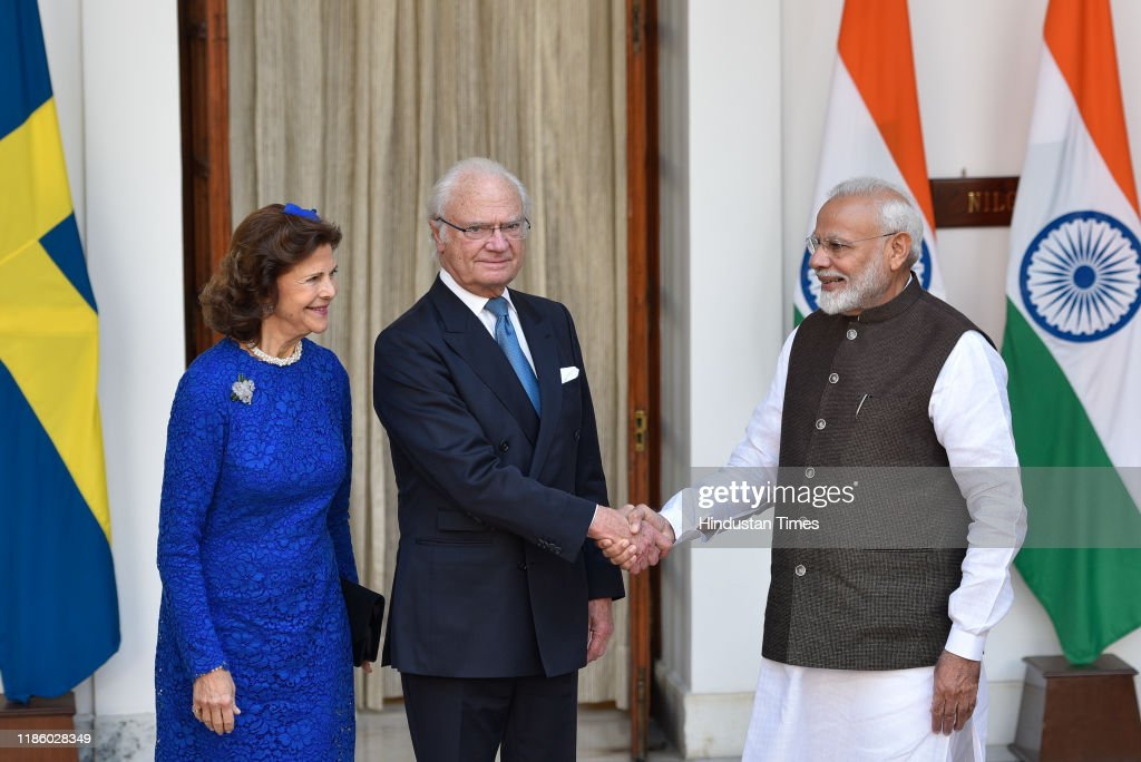 Swedish King Carl XVI Gustaf, Queen Silvia Meet Prime Minister Narendra Modi : News Photo