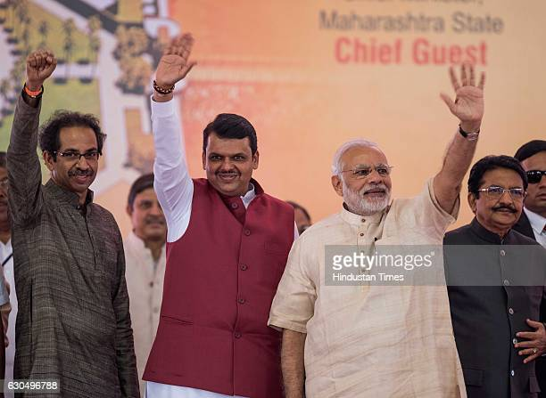 Prime Minister Narendra Modi Shiv Sena Chief Uddhav Thackeray and Maharashtra Chief Minister Devendra Fadnavis at the foundation stone laying...