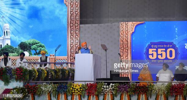 Prime Minister Narendra Modi speaks during a public rally on the occasion of the opening of the Kartarpur Corridor on November 9 2019 in Dera Baba...