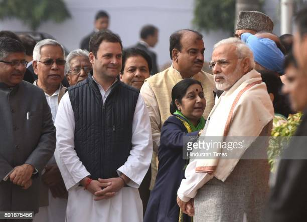 Prime Minister Narendra Modi Sushma Swaraj Rahul Gandhi and LK Advani during the anniversary of 2001 Parliament Attack at Parliament House on...