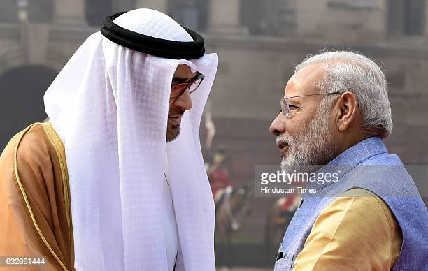 Prime Minister Narendra Modi talking with General Sheikh Mohammed Bin Zayed Al Nahyan The Crown Prince of Abu Dhabi during the ceremonial reception...