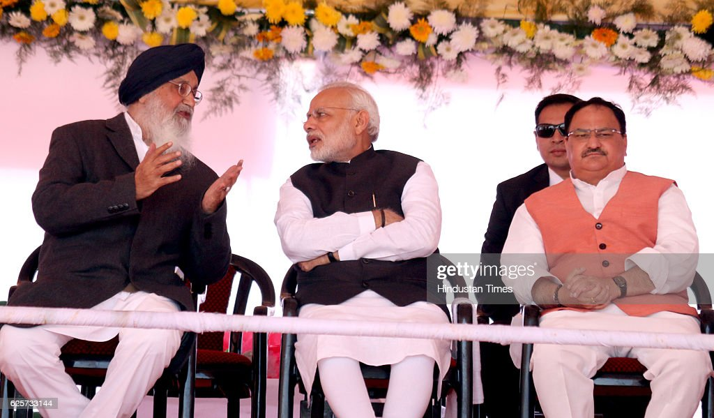 Prime Minister Narendra Modi Union Minister for Health Family Welfare Shri JP Nadda and CM Punjab Sr Parkash SIngh Badal during a Lay foundation...