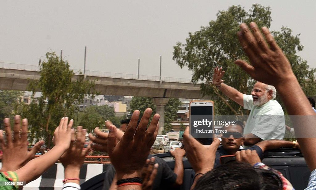 PM Narendra Modi Holds A Road Show, Travels In Open Jeep On Delhi-Meerut Expressway