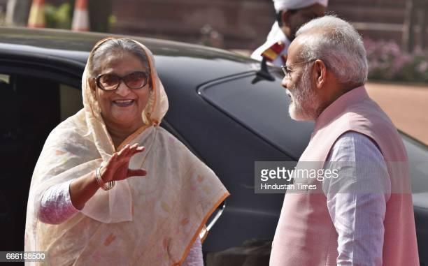 Prime Minister Narendra Modi with Bangladeshi Prime Minister Sheikh Hasina during her ceremonial reception at Rashtrapati Bhavan on April 8 2017 in...