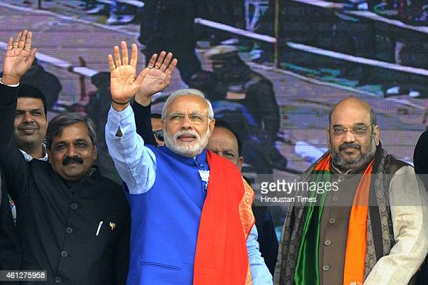 Prime Minister Narendra Modi with BJP president Amit Shah Maharashtra CM Devendra Fadnavis and BJP seniors leaders Satish Upadhyay Vijay Goel Harsh...