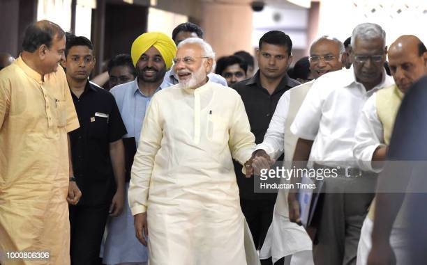 Prime Minister Narendra Modi with Congress parliamentary party leader Mallikarjun Kharge and Union Minister Ananth Kumar Home minister Rajnath Singh...