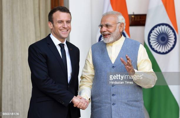 Prime Minister Narendra Modi with French President Emmanuel Macron before their delegation level meeting at Hyderabad House, on March 10, 2018 in New...