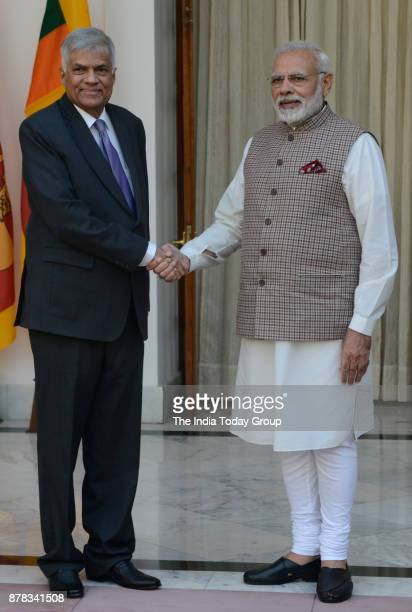 Prime Minister Narendra Modi with his Sri LankanPrime Minister Ranil Wickremesinghe before a meeting at Hyderabad House in New Delhi