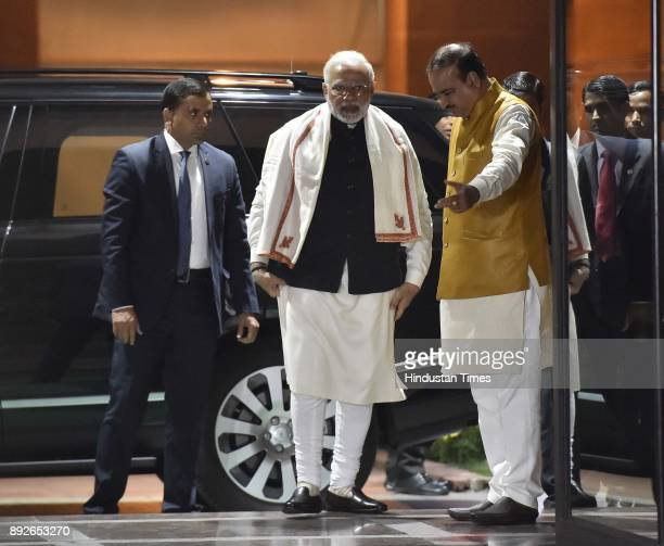 Prime Minister Narendra Modi with Parliamentary Affairs Minister Ananth Kumar at the all party meeting on the eve of winter session of Parliament on...