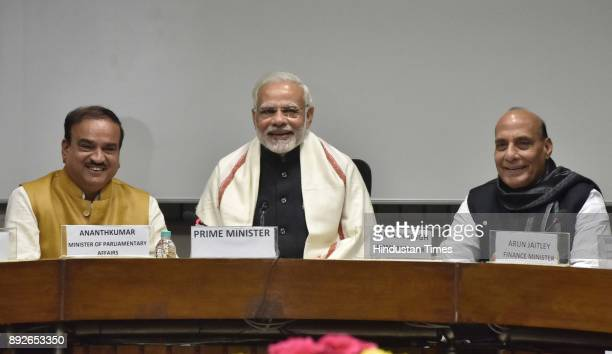 Prime Minister Narendra Modi with Parliamentary Affairs Minister Ananth Kumar and Home Minister Rajnath Singh at the all party meeting on the eve of...