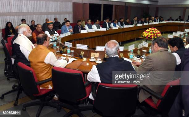 Prime Minister Narendra Modi with Parliamentary Affairs Minister Ananta Kumar Union Home Minister Rajnath Singh attending the allparty meeting on the...