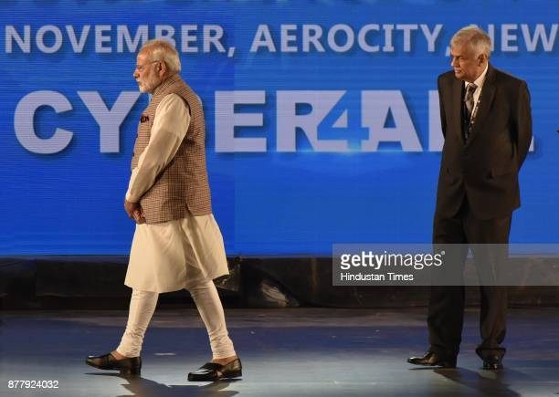 Prime Minister Narendra Modi with Ranil Wickremesinghe Prime Minister of Sri Lanka at the inauguration of GCCS 2017 at Aerocity on November 23 2017...