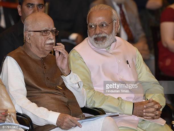 Prime Minister Narendra Modi with senior BJP leader LK Advani during the Padma Awards Investiture ceremony at Rashtrapati Bhawan on March 28 2016 in...