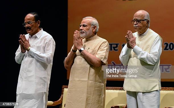 Prime Minister Narendra Modi with senior BJP leader LK Advani with Union Minister Venkaiah Naidu during 'Garib Kalyan Yojana' a workshop about the...
