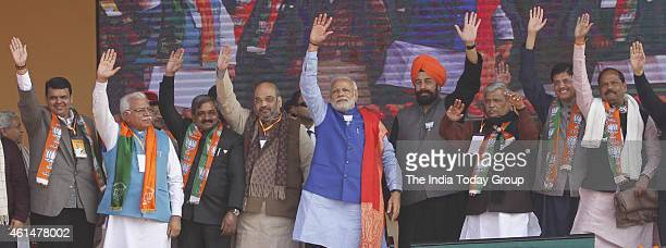Prime Minister Narendra Modi with senior party leaders during the BJP's 'Abhinandan' rally in New Delhi