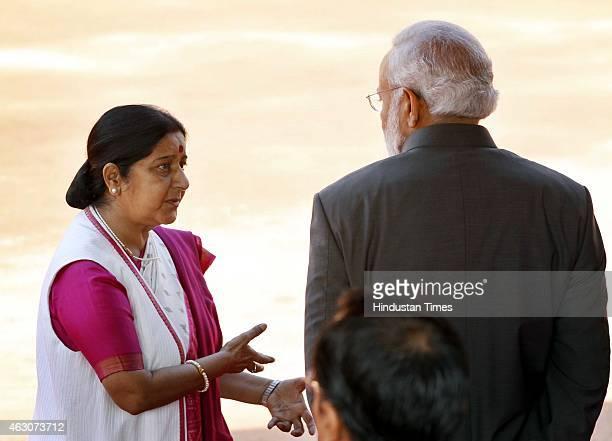 Prime Minister Narendra Modi with Union External Affairs Minister Sushma Swaraj during ceremonial reception of Singapore President Tony Tan Keng Yam...