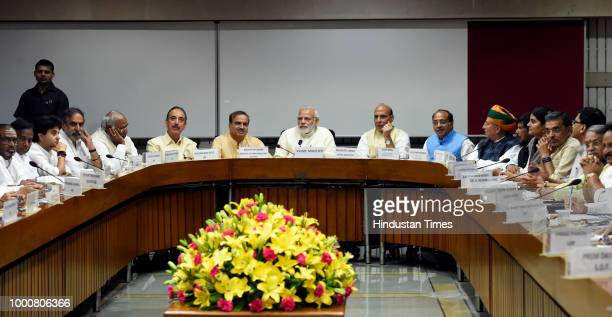 Prime Minister Narendra Modi with Union Home Minister Rajnath Singh Parliamentary Affairs Minister Ananth Kumar Congress party's Ghulam Nabi Azad and...