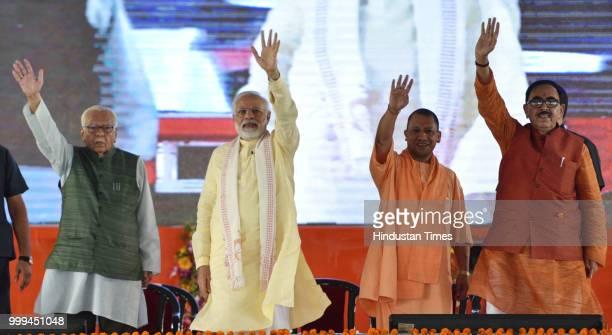 Prime Minister Narendra Modi with Uttar Pradesh Governor Ram Naik and Chief Minister Yogi Adityanath Uttar Pradesh Deputy Chief Minister Keshav...