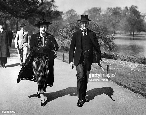 Prime Minister Neville Chamberlain And Wife Anne Enjoy Sunshine In St James' Park in London United Kingdom on May 12 1938