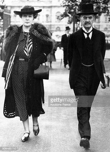 Prime Minister Neville Chamberlain And Wife Anne Having a Morning Walk In St James' Park in London United Kingdom on July 24 1939