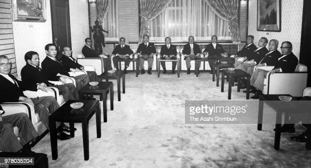 Prime Minister Noboru Takeshita and his new cabinet members attend their first cabinet meeting at the Diet Building on December 27 1988 in Tokyo Japan