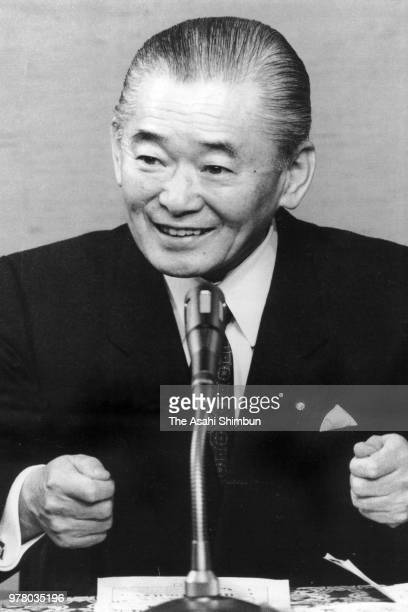 Prime Minister Noboru Takeshita speaks during a press conference after the consumption tax bills enacted at the prime minister's official residence...