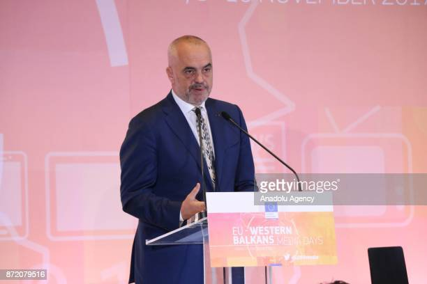 Prime Minister of Albania Edi Rama and European Union Commissioner for Enlargement Johannes Hahn attend the opening of the conference on 'Media Days...