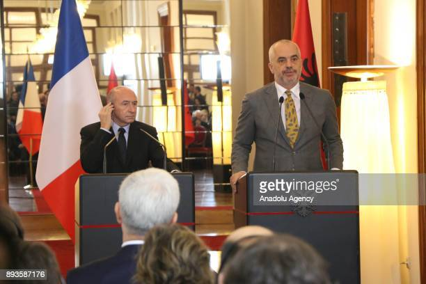 Prime Minister of Albania Edi Rama and French Interior Minister Gerard Collomb hold a press conference in Tirana Albania on December 15 2017
