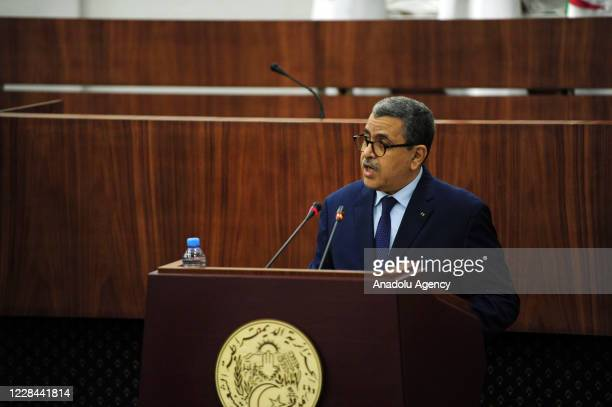 Prime Minister of Algeria Abdelaziz Djerad speaks at the opening of the session in which the parliament has adopted draft constitutional reforms in...