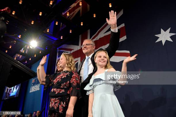 Prime Minister of Australia and leader of the Liberal Party Scott Morrison flanked by his wife Jenny Morrison and daughters Lily Morrison and Abbey...