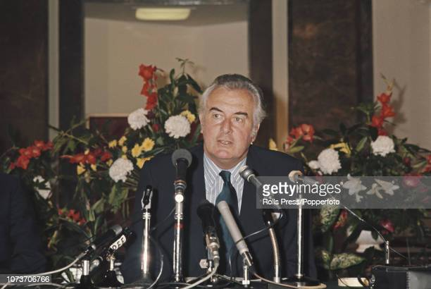Prime Minister of Australia Gough Whitlam pictured addressing a press conference at Australia house in London on 25th April 1973