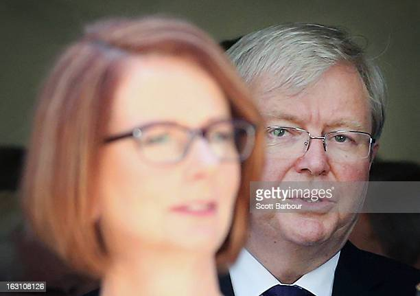 Prime Minister of Australia Julia Gillard and former Prime Minister of Australia Kevin Rudd look on as they leave the State Funeral for former...