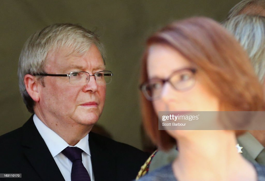 Prime Minister of Australia Julia Gillard (R) and former Prime Minister of Australia Kevin Rudd look on as they leave the State Funeral for former speaker Joan Child on March 5, 2013 in Melbourne, Australia. Joan Child, the first female speaker of federal parliament passed away on February 23 at the age of 91.