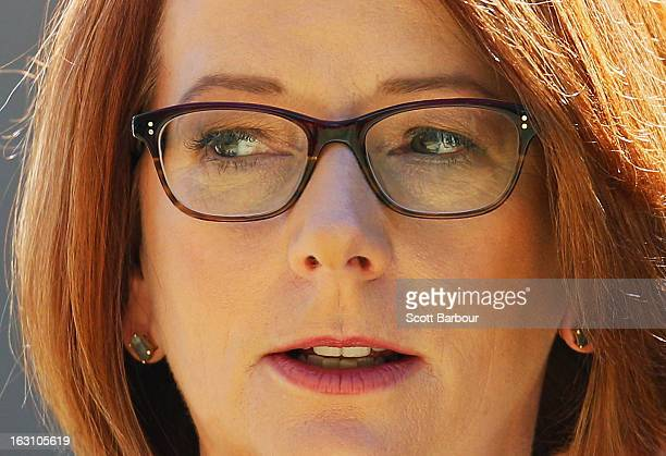 Prime Minister of Australia Julia Gillard arrives to attend the State Funeral for former speaker Joan Child on March 5 2013 in Melbourne Australia...