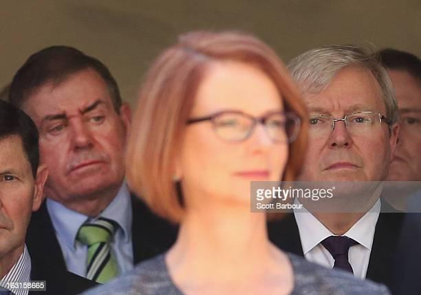 Prime Minister of Australia Julia Gillard former Prime Minister of Australia Kevin Rudd and former Speaker Peter Slipper look on as they leave the...