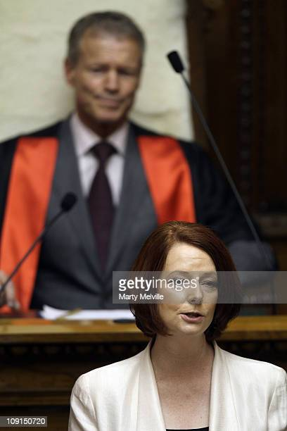Prime Minister of Australia Julia Gillard speaks to Parliament and watched by Speaker Lockwood Smith during an address to the House at Parliament on...