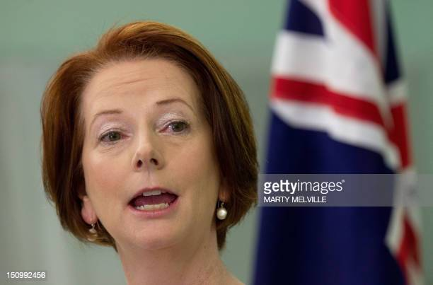 Prime Minister of Australia Julia Gillard speaks to the media regarding the Australian soldiers killed in Afganistan during the Pacific Islands Forum...