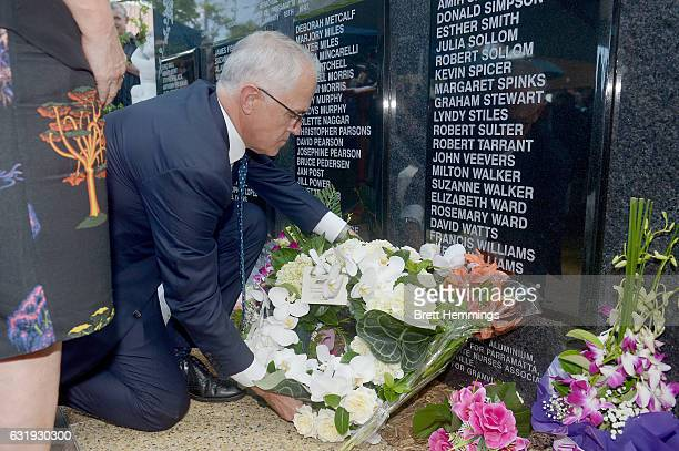 Prime Minister of Australia, Malcolm Turnbull lays a wreath at the memorial wall during the 40th anniversary memorial service for the Granville train...
