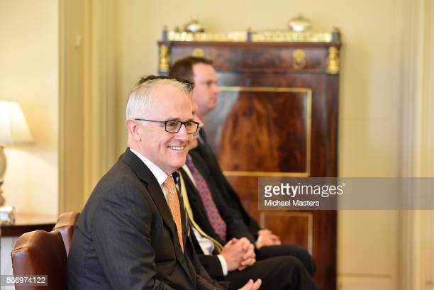 Prime Minister of Australia Malcolm Turnbull looks on during a swearingin ceremony at Government House on October 27 2017 in Canberra Australia The...