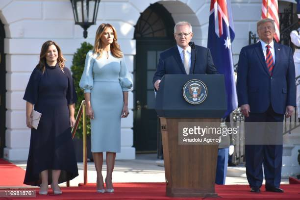 Prime Minister of Australia Scott Morrison and his wife Jennifer Morrison are welcomed by US President Donald Trump and his wife Melania Trump at the...
