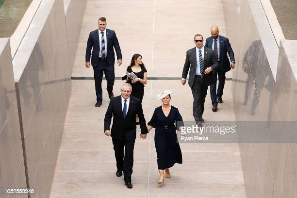 Prime Minister of Australia Scott Morrison and his wife Jenny arrive ahead of the Official opening of ANZAC Memorial on October 20 2018 in Sydney...